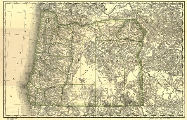 Indexed map of Oregon showing the railroads in the state and the express company doing business over each, also, counties, lakes & rivers.