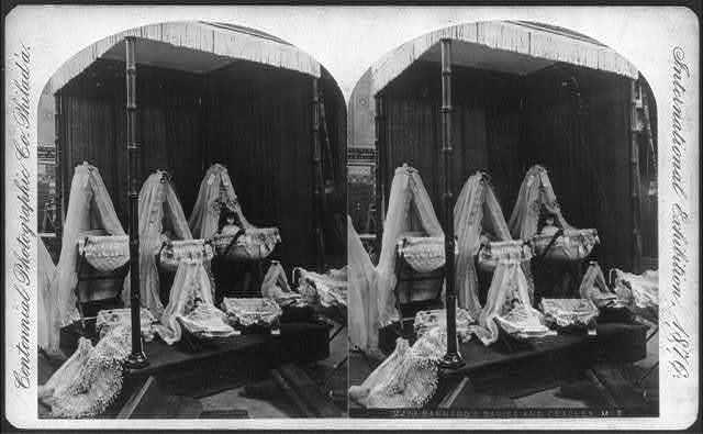 International Exhibition, Phila., Pa: Barnard's Babies [dolls] and Cradles, Main Building
