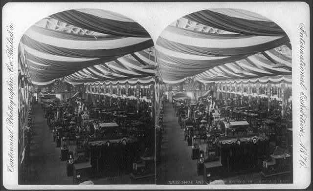 International Exhibition, Phila., Pa.: Shoe and Leather Bldg.; interior from East End
