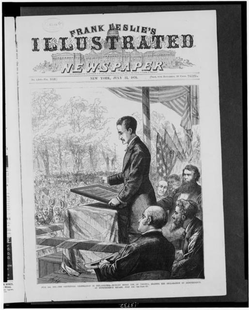July 4th, 1876. The centennial celebration in Philadelphia-Richard Henry Lee of Virginia, reading the Declaration of Independence at Independence Square, July 4th / Hyde.