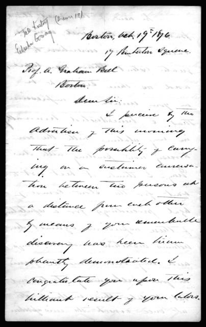 Letter from Alex. L. Hayes to Alexander Graham Bell, October 19, 1876