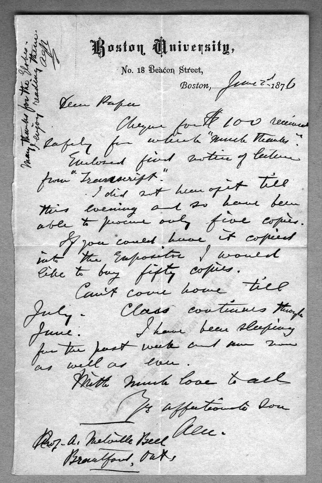 Letter from Alexander Graham Bell to Alexander Melville Bell, June 2, 1876