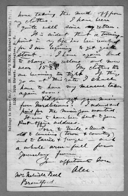 Letter from Alexander Graham Bell to Eliza Symonds Bell, 1876