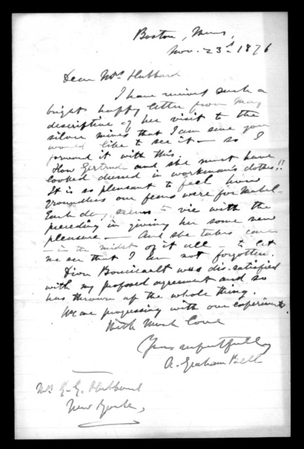 Letter from Alexander Graham Bell to Gertrude McCurdy Hubbard, November 23, 1876