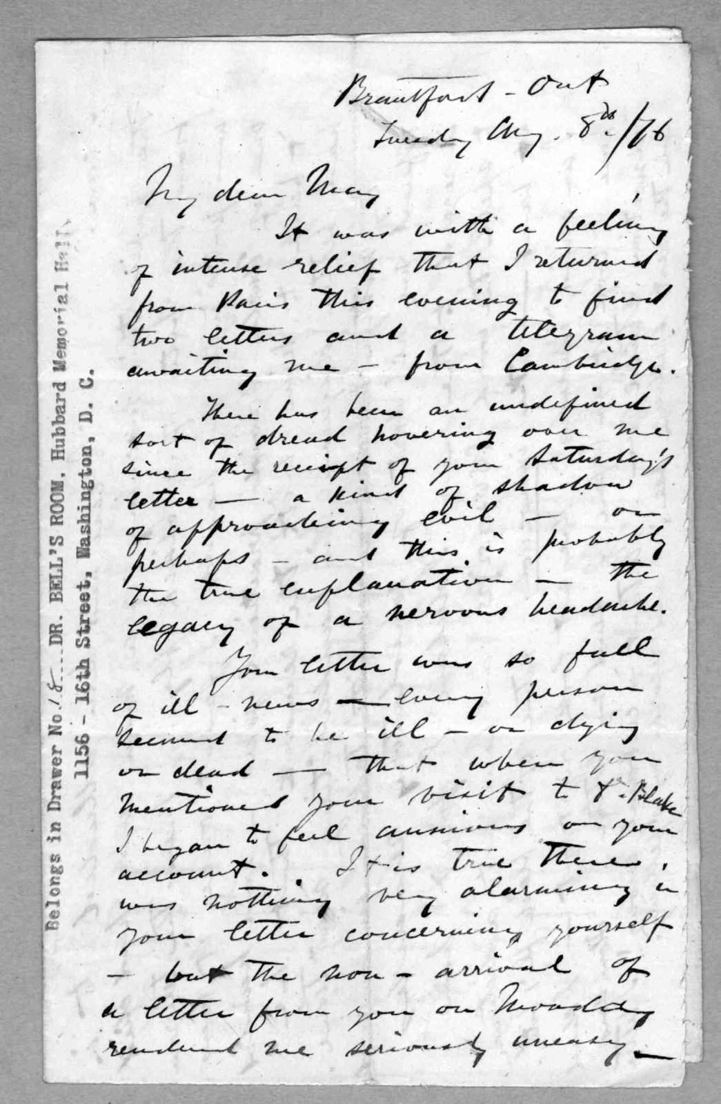 Letter from Alexander Graham Bell to Mabel Hubbard Bell, August 8, 1876