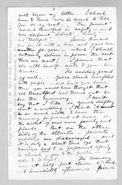 Letter from Alexander Graham Bell to Mabel Hubbard Bell, July 27, 1876