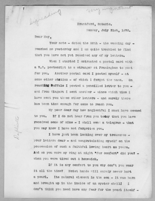 Letter from Alexander Graham Bell to Mabel Hubbard Bell, July 31, 1876
