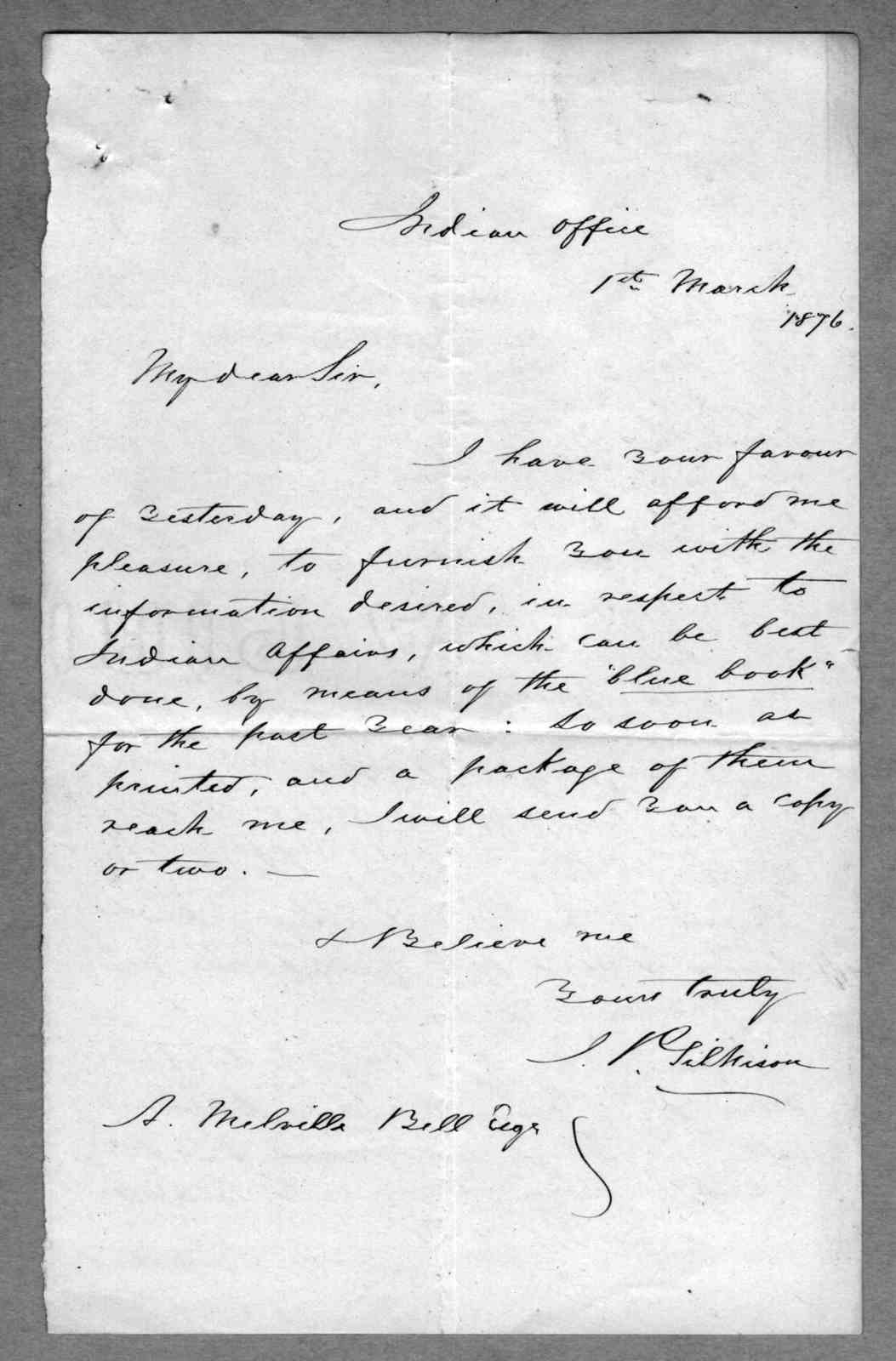 Letter from Eliza Symonds Bell to Alexander Graham Bell, March 29, 1876