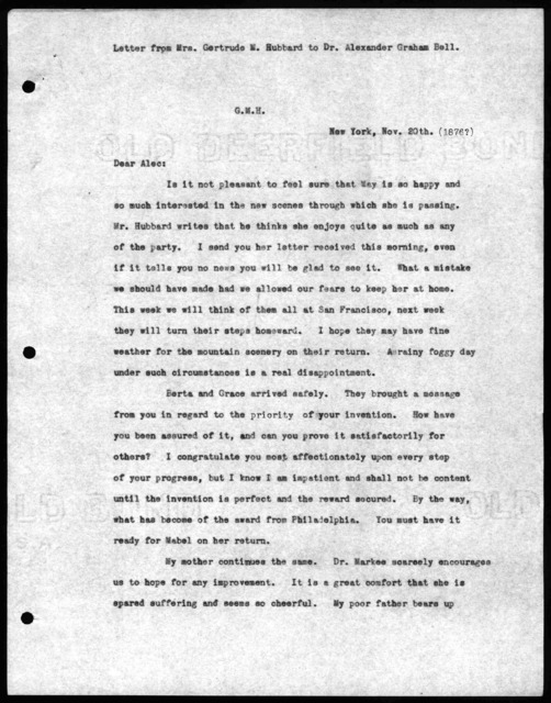 Letter from Gertrude McCurdy Hubbard to Alexander Graham Bell, November 20, 1876