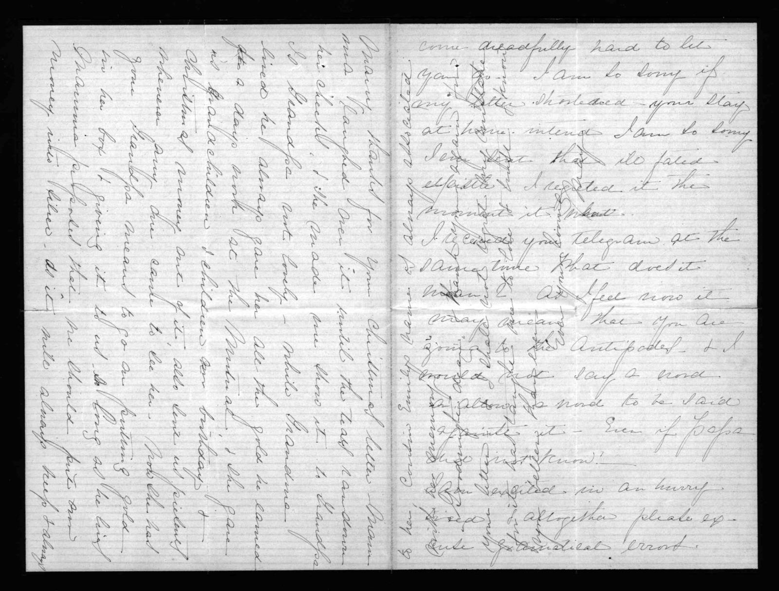 Letter from Mabel Hubbard Bell to Alexander Graham Bell, December 1876