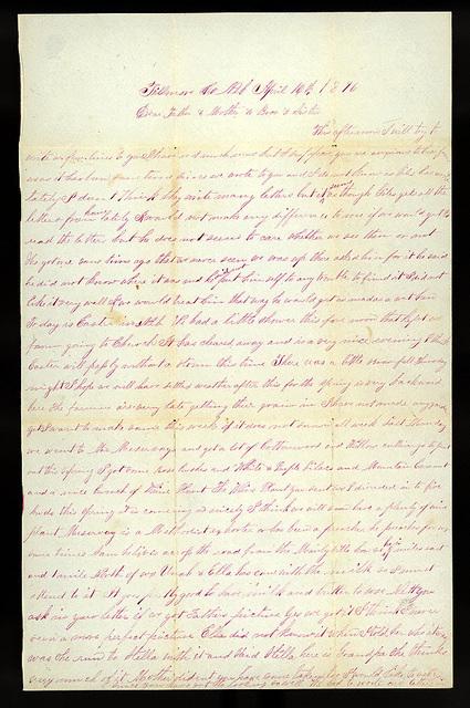Letter from Mattie V. Oblinger to Thomas Family, April 16, 1876