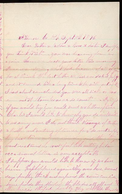 Letter from Mattie V. Oblinger to Thomas Family, September 10, 1876