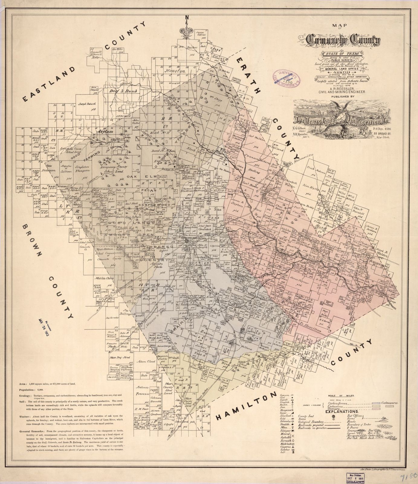 Map of Comanche County : state of Texas showing the extent of all public surveys, land grants and all other official information, compiled from the records of the General Land office at Austin, showing also the geology, agriculture and other important details carefully selected from authentic sources /
