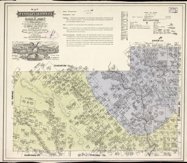 Map of Hamilton County, State of Texas : showing the extent of all public surveys, land grants and all other official information compiled from the records of the General Land Office at Austin... /