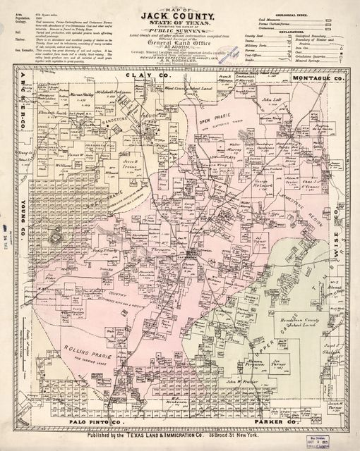 Map of Jack County, State of Texas : exhibiting the extent of public surveys land grants and all other official information compiled from official surveys of the General Land Office at Austin... /