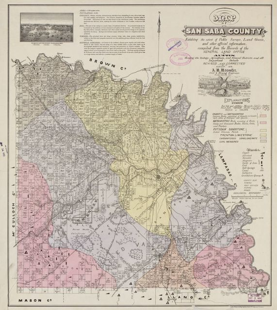 Map of San Saba County : exhibiting the extent of public surveys, land grants, and other official information ; compiled from the records of the General Land Office at Austin, showing also geology, agriculture, and mineral districts and all important details /