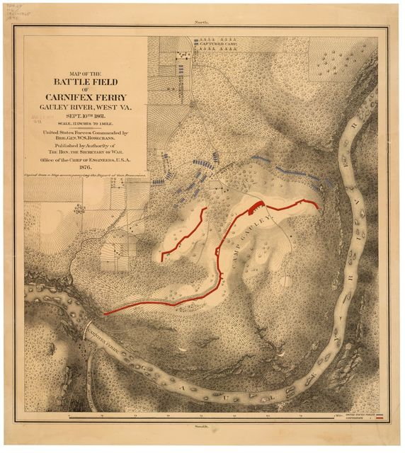 Map of the battle field of Carnifex Ferry, Gauley River, West Va., Sept. 10th 1861 : United States forces commanded by Brig. Gen. W.S. Rosecrans.