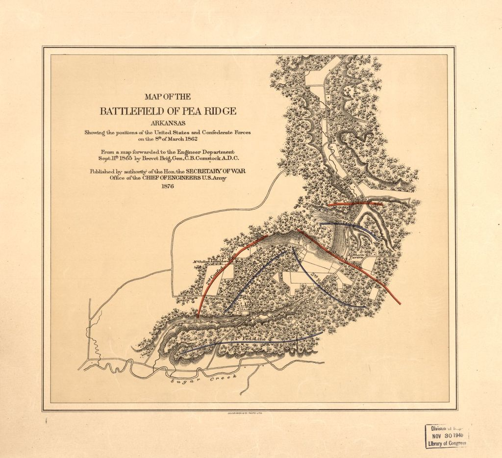 Arkansas United States Map.Map Of The Battlefield Of Pea Ridge Arkansas Showing The Positions