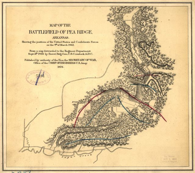 Map of the battlefield of Pea Ridge, Arkansas, showing the positions of the United States and Confederate forces on the 8th of March 1862
