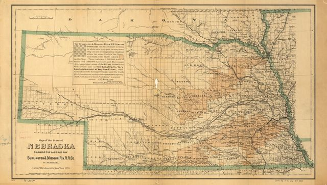 Map of the state of Nebraska showing the lands of the Burlington & Missouri Riv. R.R. Co. in Nebraska.