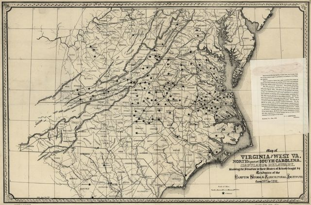 Map of Virginia and West Va., North & part of South Carolina, Maryland & Delaware, showing the situation in these states of schools taught by graduates of the Hampton Normal & Agricultural Institute from 1871 to 1876.