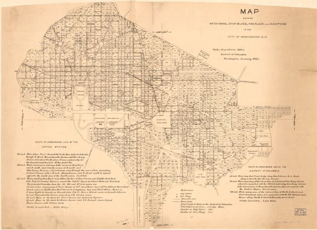 Map showing water mains, stop valves, fire plugs, and elevations in the city of Washington, D.C. /