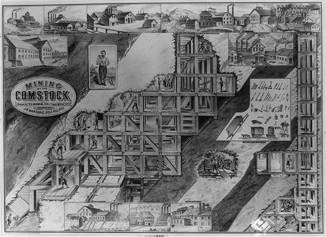 Mining on the Comstock / drawn by T.L. Dawes ; engraved and printed by Le Count Bro's., San Francisco.