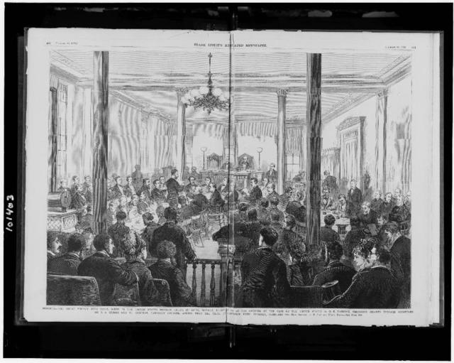 Missouri--The great Whisky Ring trial--Scene in the United States District Court, St. Louis, Monday, February 7th, at the opening of the case of the United States vs. O.E. Babcock, President Grant's private secretary. Mr. E.A. Storrs, one of General Babcock's counsel, asking that the trial be deferred until Tuesday, February 8th / from sketches by E. Jump and Harry Ogden.