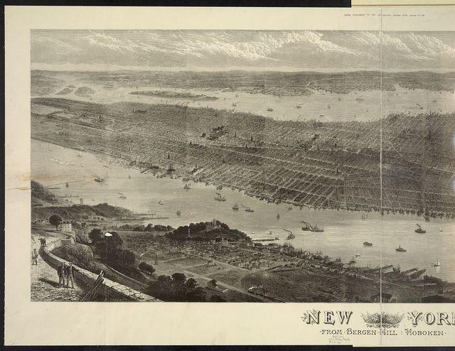 New York From Bergen Hill, Hoboken / / Loudan sc. ; T. Sulman del.