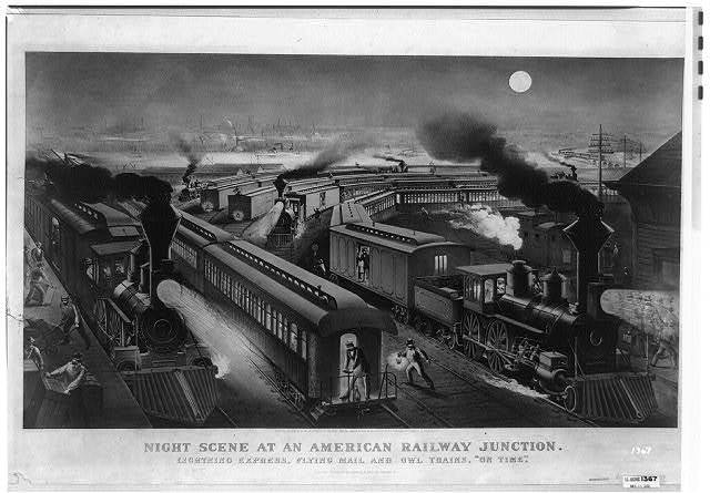 "Night scene at an American railway junction: Lightning Express, Flying Mail, and Owl Trains, ""on time"" / Parsons & Atwater del."