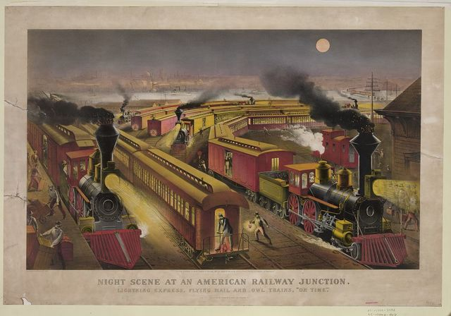 """Night scene at an American railway junction: Lightning Express, Flying Mail, and Owl Trains, """"on time"""" / Parsons & Atwater del."""