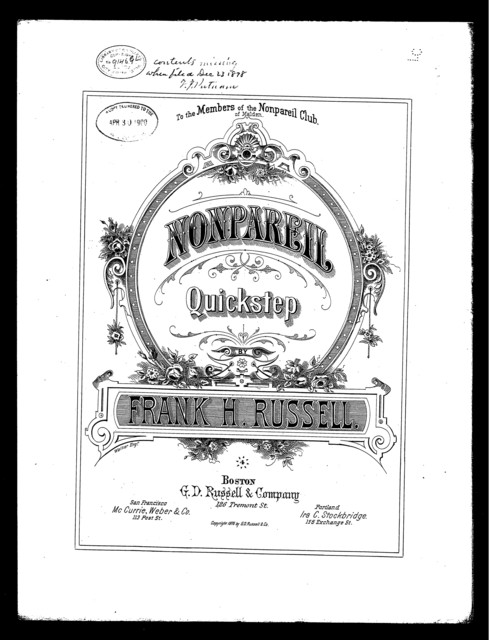 Nonpareil [title page only]