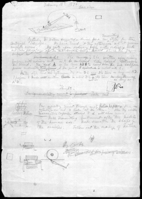 Notes by Alexander Graham Bell, February 18, 1876