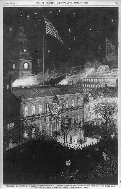 Philadelphia, Pa. - Ceremonies in front of Independence Hall, Chestnut Street, at the opening of the centennial year - Mayor Stokley raising the old colonial flag