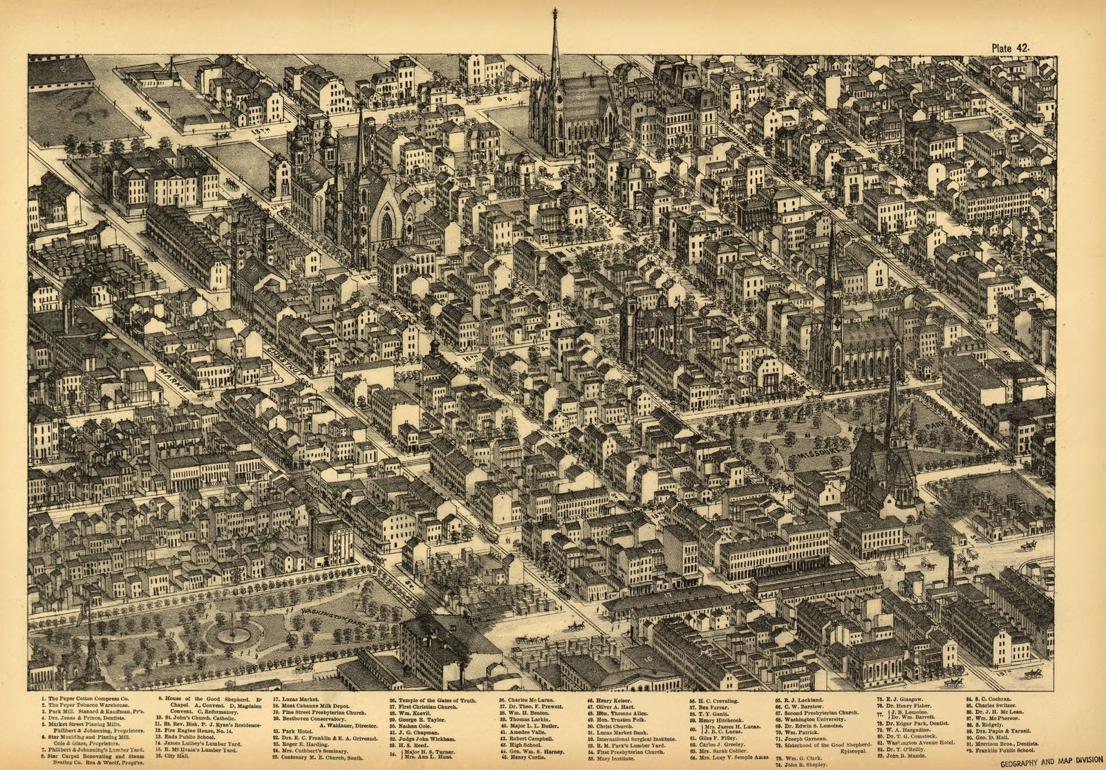 Pictorial St. Louis, the great metropolis of the Mississippi valley; a topographical survey drawn in perspective A.D. 1875,