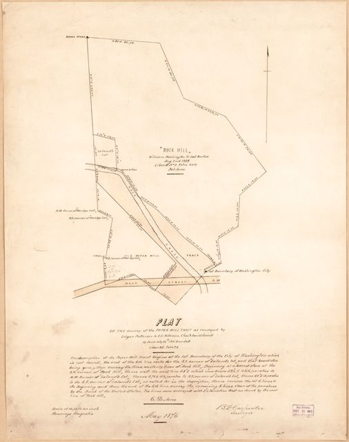 Plat of the survey of the Paper Mill tract : as conveyed by Edgar Patterson to Eli Williams, Chas. & Daniel Carroll, by deed, July 26th 1811 : recorded liber A.C. folio 93 /