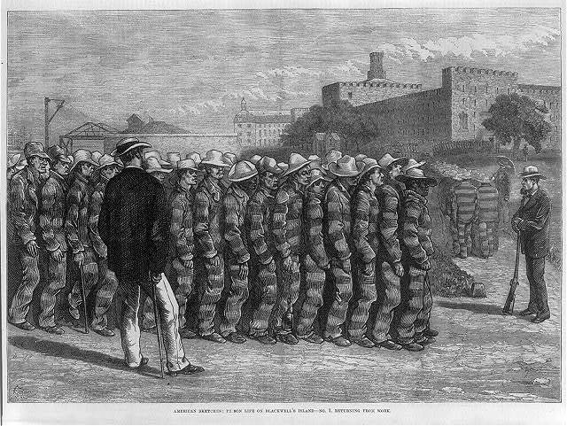[Prisoners returning from work on Blackwell's Island, N.Y. C.]