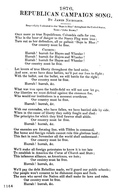 "Republican campaign song. Tune- ""John Brown."" [1876]"
