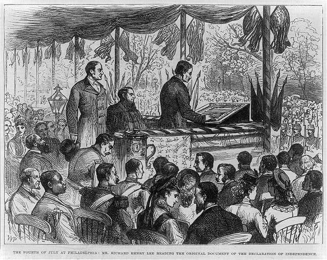 [Richard Henry Lee reading the original document of the Declaration of Independence, on the Fourth of July 1876, at Philadelphia]
