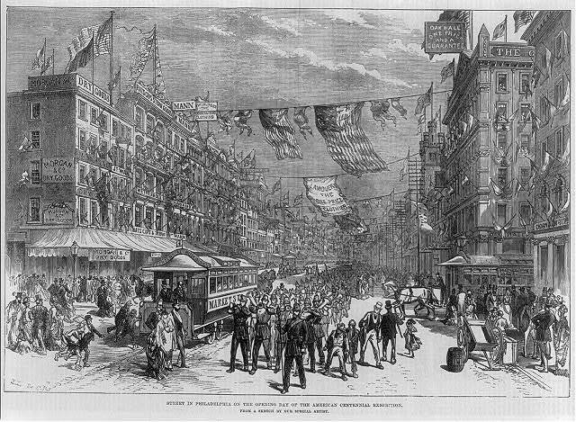 [Street in Philadelphia on the opening day of the American Centennial Exhibition, 1876]