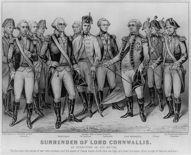 Surrender of Lord Cornwallis: at Yorktown Va. Oct 19th. 1781