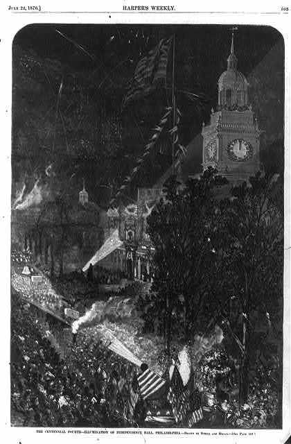 The Centennial Fourth - illumination of Independence Hall, Philadelphia [Fireworks and lights shining on Independence Hall]
