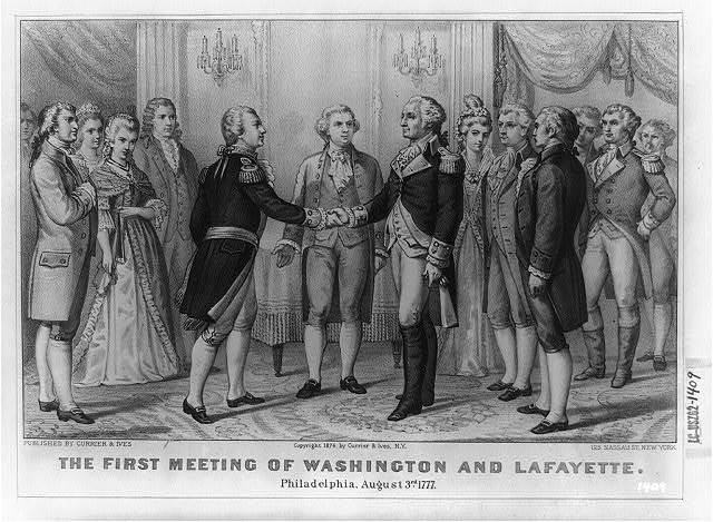 The First meeting of Washington and Lafayette, Philadelphia, Aug. 3rd, 1777