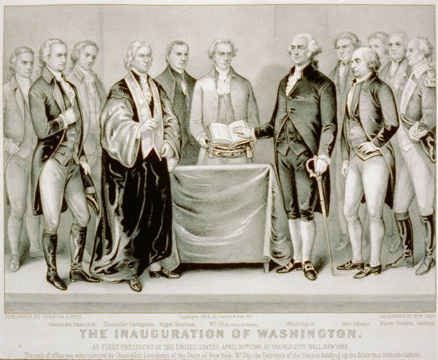 The inauguration of Washington: as first President of the United States, April 30th 1789; at the old city hall, New York
