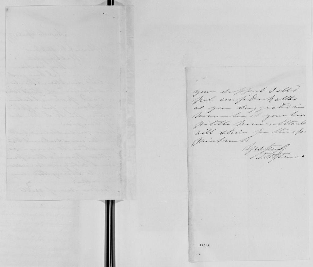 Alexander Hamilton Stephens Papers: General Correspondence, 1784-1886; 1877, Mar. 8-Oct. 4