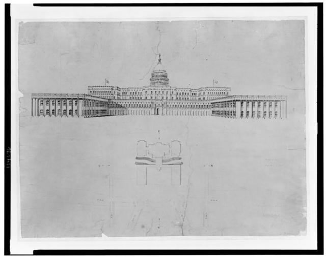 Architectural drawing for alterations to the U.S. Capitol, Washington, D.C. West elevation