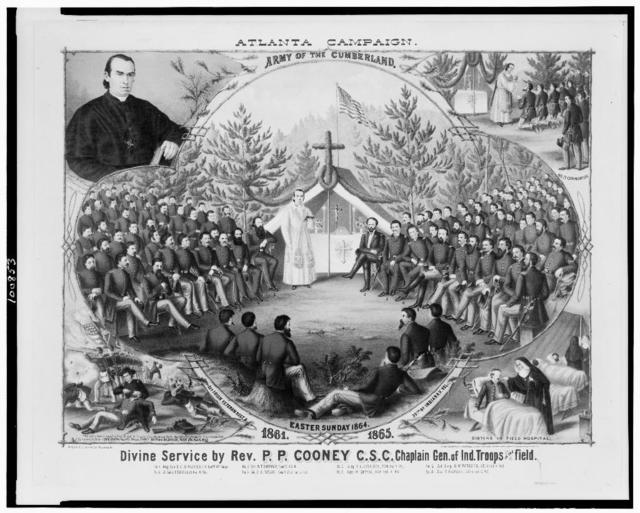 Atlanta campaign. Army of the Cumberland. Divine service by Rev. P.P. Cooney, C.S.C. Chaplain Gen. of Ind. Troops in the field