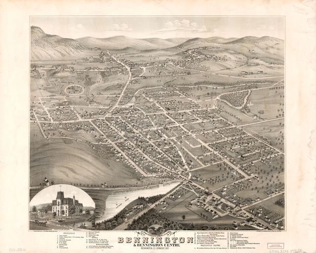 Birds eye view of Bennington & Bennington Centre, Bennington Co., Vermont /