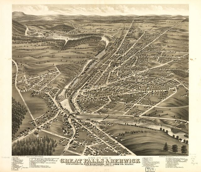 Bird's eye view of Great Falls, Strafford Co., New Hampshire & Berwick, York Co., Maine 1877.