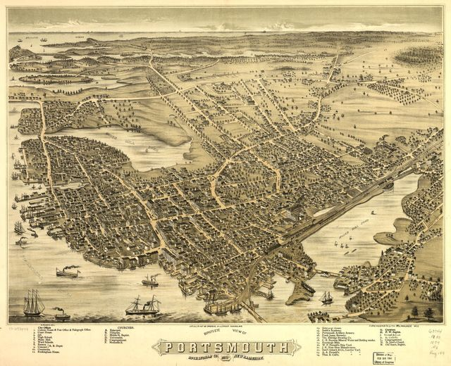 Bird's eye view of Portsmouth, Rockingham Co., New Hampshire 1877.